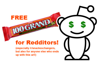 Free 100 Grand Bar for Redditors