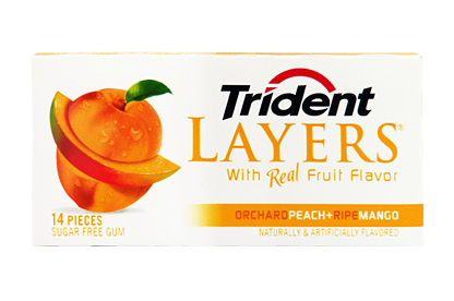 Trident Layers Orchard Peach & Ripe Mango Gum