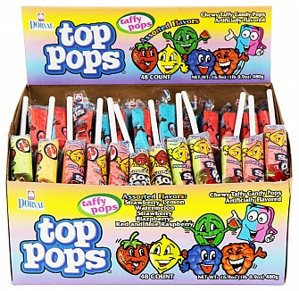 Top Pops Assorted Flavour Taffy Pops (Box of 48)