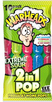 Warheads Freezer Pop 2 in 1 Extreme Sour 10 Pack (450ml)