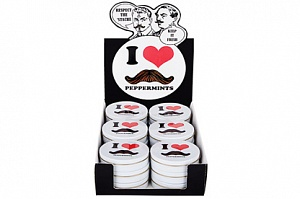 I Love Moustache Peppermints (Box of 18)